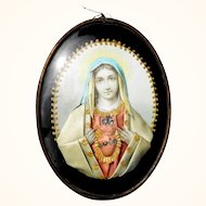 Beautiful Antique Reliquary  Virgin Mary Sacred Heart of Jesus
