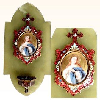 French Holy Water Marble  Enamel and Porcelain Medallion Saint Mary Magdalene
