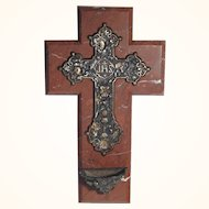 Large Red Marble Cross Holy Water Stoup