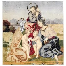 Fantastic Convent Work Embroidery Holy Family Saint Elisabeth Saint John