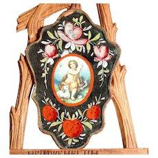 Early 19th Century Devotional Image Saint John and the Lamb of God Nun Mirror