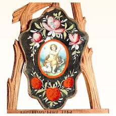 Early 19th Century Devotional Image Saint John and the Lamb of God Nun Mirror