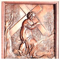 Early 19th C Religious Carving Way of the Cross Jesus Accepts his Cross