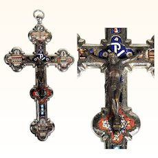 Micro Mosaic Cross Crucifix Four Roman Views ca. 1880