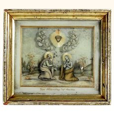 Fantastic Convent Work Hair Picture Virgin Mary and Saint Joseph Museum Quality Dated 1853