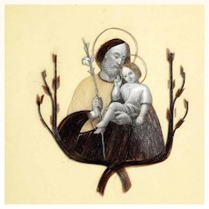 Very Rare Devotional Hairwork Saint Joseph and Baby Jesus