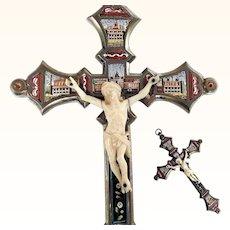 Grand Tour Micro Mosaic Cross Crucifix Roman 5 Views Bone Christ