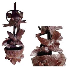 Stunning  Hand Carved Holy Water Font Game Bird Black Forest 1880