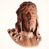 Impressive Folk Art Hand Carving Christ Head ca. 1900/20