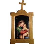"19C Home Retable Porcelain Plaque ""Madonna della Sedia"""