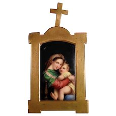 "19C Home Retable Porcelain Plaque ""Madonna della Sedia"""