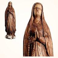 Virgin Mary Hand Carved Religious  Folk Art Statue