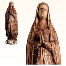 Virgin Mary Hand Carved Religious  Folk Art Statue