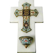 French Holy Water Font Enamel Cross and Stoup