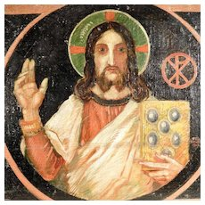 Hand Painted Icon Christ Pantocrator Signed and Dated 1910