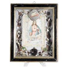 19th Century French Memento Hair Work Divine Mercy Lamb of God