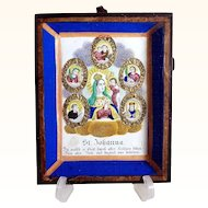 Late Baroque Monastery Work Devotional Saint Johanna and Five Saints Shadow Case