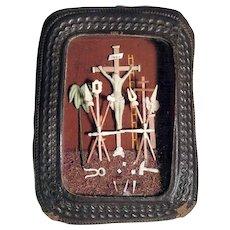 Antique German Show Case Crucifixion Passion Instruments Salt Paste