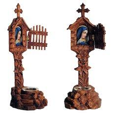 Wooden Shrine & Painted Porcelain Plaque Virgin Way Side Cross Hand Carving