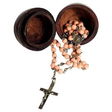 Old Rosary Coral Beads and its Chaplet Commemorative Holy Year 1925