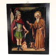 19th Century Religious Painting Saint Florian and Saint Leonard Folk Art
