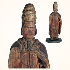 17th Century Religious Carving Santo Pope Lime Tree