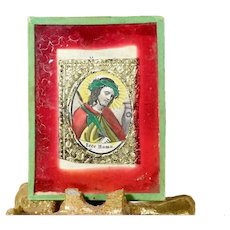 Reliquary Monastery Work Colored Engraving Ecce Homo Medallion