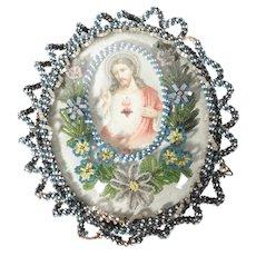 Reliquary Convent Work Jesus Sacred Heart Beaded Frame