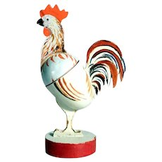 Rare Wooden Container Easter Rooster Handmade and Painted