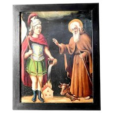 19th Century Religious Painting Saint Florian and Saint Leonard Folk Art