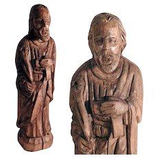 Impressive Religious Carving Saint Joseph Folk Art