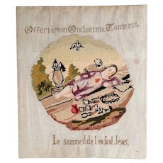 French Religious Embroidery Jesus Child Sleeping 1876 Sampler
