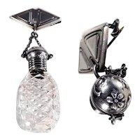Victorian Era Cut Glass Scent Bottle w. Silver Attachment Brooch