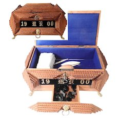 Tramp Art Sewing Box Casket Pin Cushion Drawer with Treasures