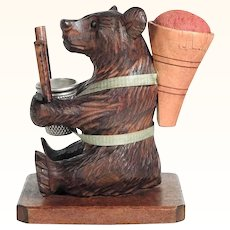 Darling Hand Carved Bear Pin Cushion Thimble & Bobbin Holder Black Forest