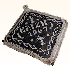 Interesting Old Pin Cushion Stitched Top Dated 1907