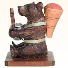 Nice Hand Carved Bear Pin Cushion Bobbin and Thimble Holder Black Forest