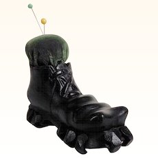 Lovely Pin Cushion Hiking Boot Shape  Hand Carved
