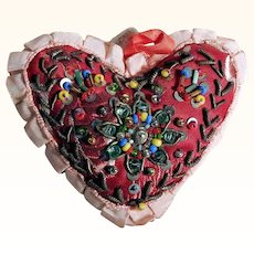 Hand Crafted Heart Shape Pin Cushion Bead Work
