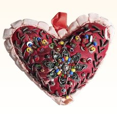 Hand Crafted Beaded Pin Cushion Heart Shape