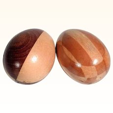 Pair of German Marquetry Wooden Darning Eggs