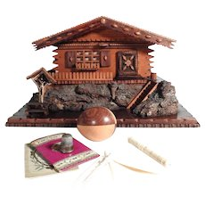Sewing Box Chalet Shape Large Stunning Details Secret Compartment and Treasures