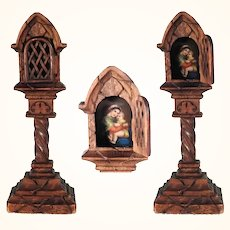 Wooden Shrine NIght Table Altar Painted Porcelain Plaque Chair Virgin Hand Carving
