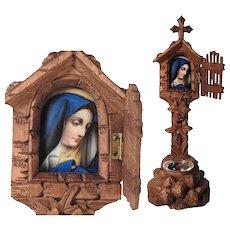 Home Altar Hand Carved Wooden Shrine & Painted Porcelain Plaque