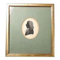 19C Miniature India Ink Drawing Silhouette Noble Man