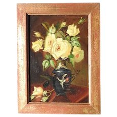 Charming Yellow Roses Still Life Art Deco Period