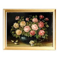 Amazing Still Life Artist Roses Bouquet Oil Painting Artist Signed ca. 1920