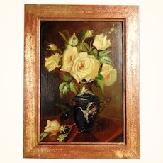 Charming Yellow Roses Still Life ca. 1920