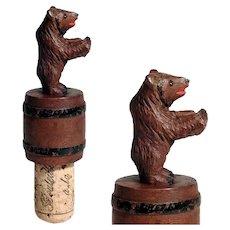 Hand Carved  Bottle Stopper Bear on Barrel Black Forest ca. 1900/20