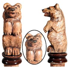 Bottle Stopper Hand Carved Sit Up and Bag Bear Black Forest